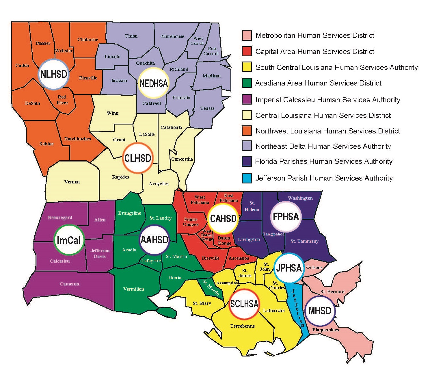 Locate Services Department Of Health State Of Louisiana - Map of louisiana with cities