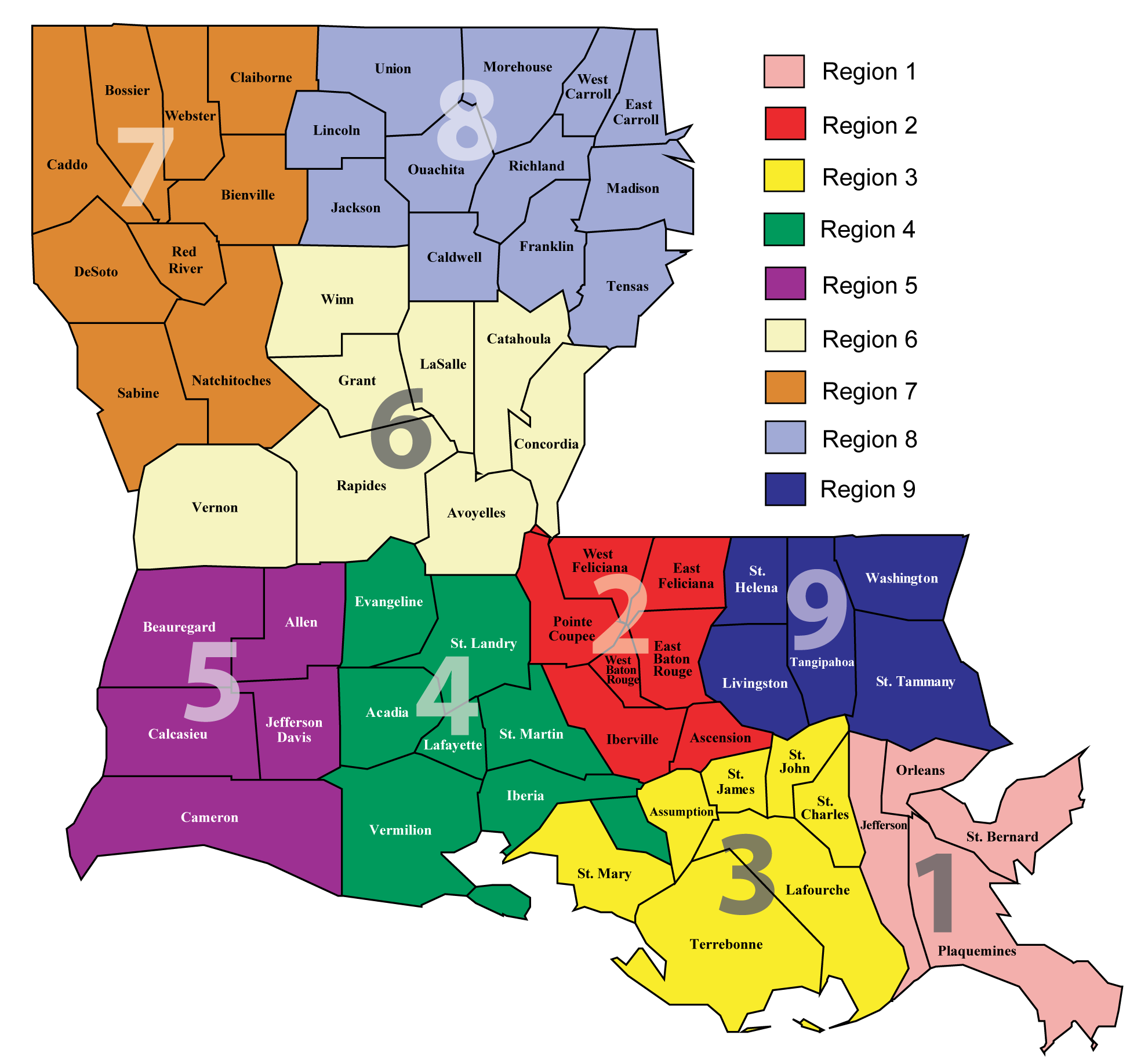 LDH Administrative Regions Map