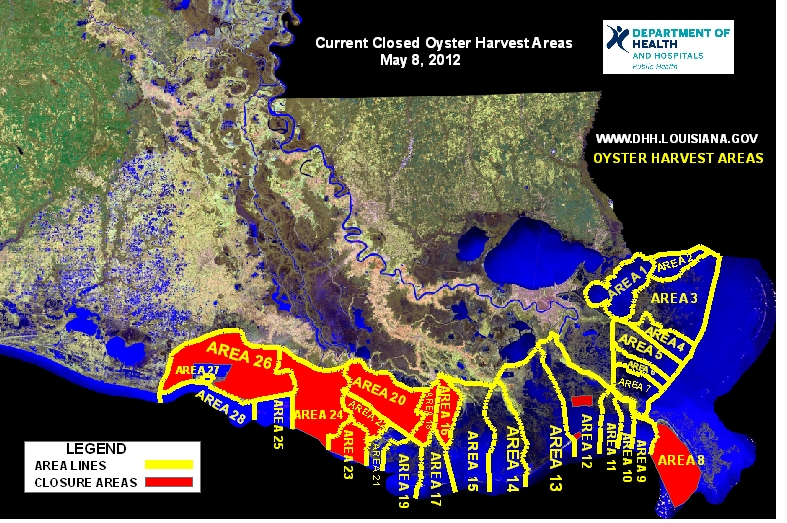 DHH Recalls Oysters and Closes Oyster Harvesting Area Department