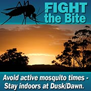 Avoid active mosquito times. Stay indoors at Dusk/Dawn.