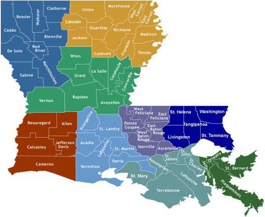 Louisiana Map Parishes.Parish Health Units Department Of Health State Of Louisiana