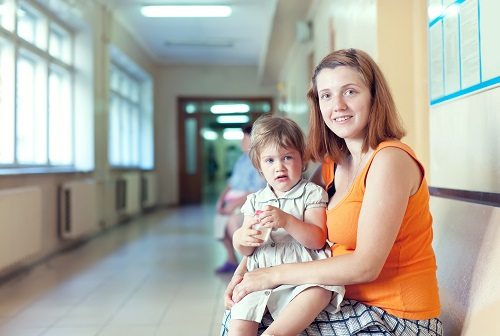 Mother and Child in the waiting room