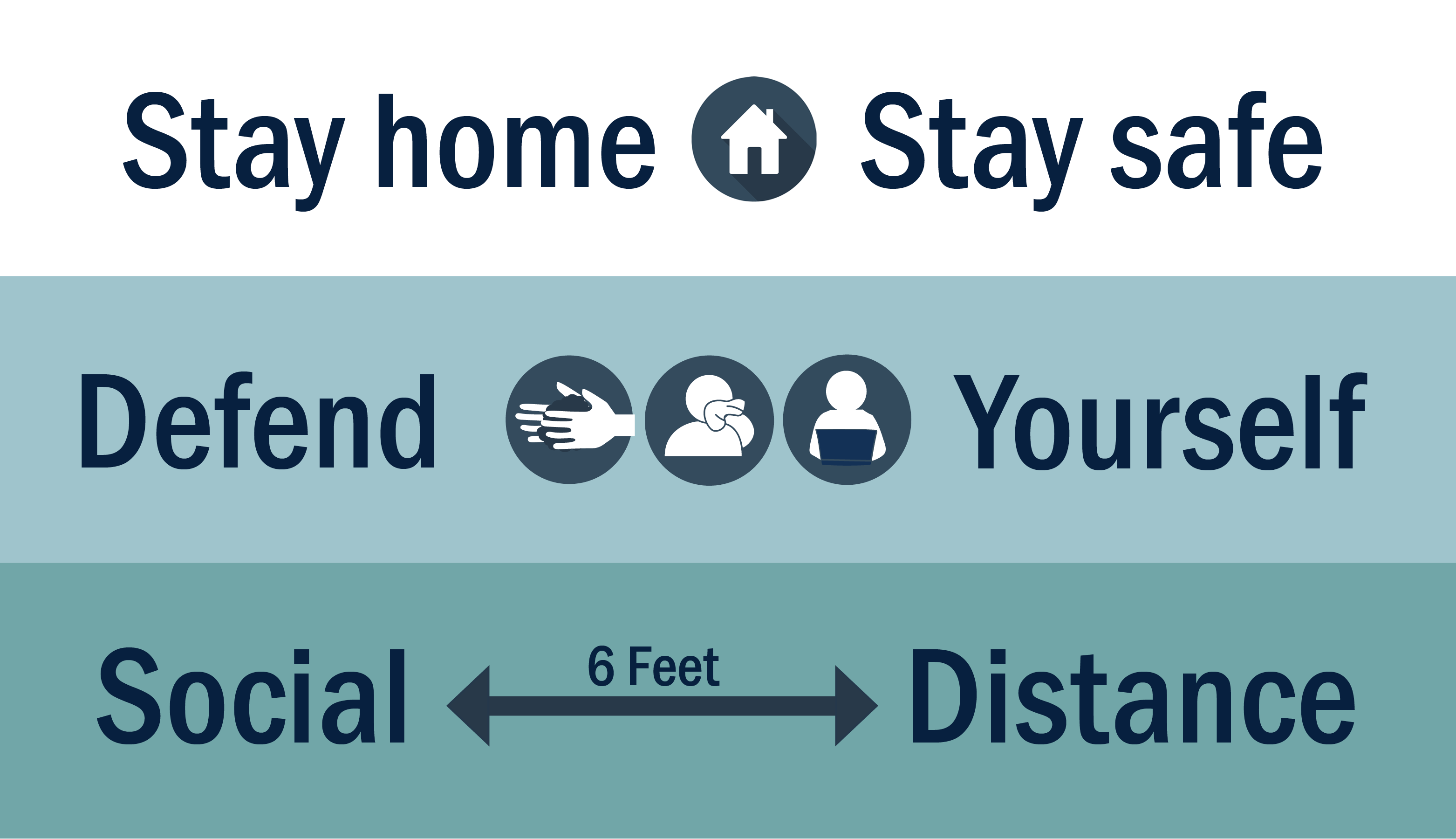 Stay Home. Recognize Symptoms. Maintain Social Distance.